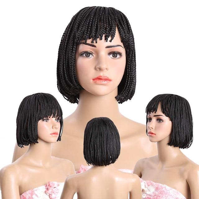 Golden Beauty Big discount Bob wig Neat bang Brown Cheap Short Bob Braiding wig short Synthetic Black Micro Box Braids wigs