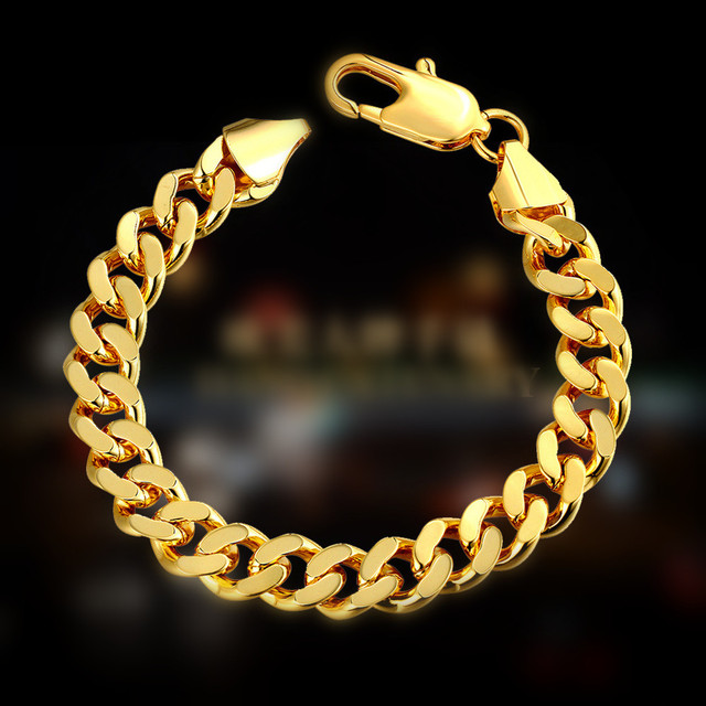 European and American Style  Yellow/ Rose Gold Bracelet Green Geometric Lobster Claw Clasp Bracelet  1cm*20cm