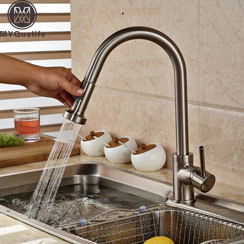 Good Quality Brushed Nickel Kitchen Faucet Deck Mounted Hot and Cold Water Pull Out SStream Sprayer