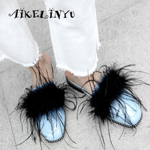 AIKELINYU New Fashion Sexy Genuine Leather Square Head Low Heels Women Sandals Feather Summer Rivetsl Shoes Flip Flops