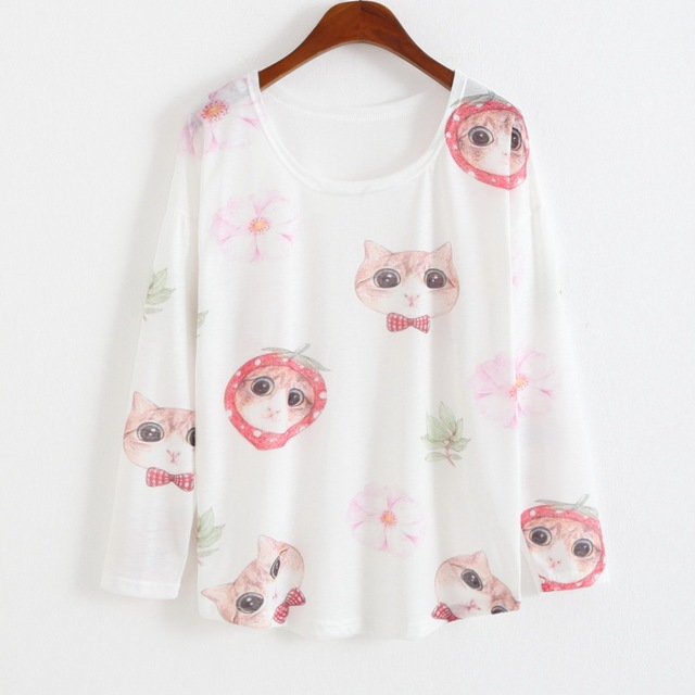 Women kawaii Tees Shirts Printed Pink cats Woman crop top camisetas mujer Loose blusa Tunic tshirt  femme Designer tops  AH011