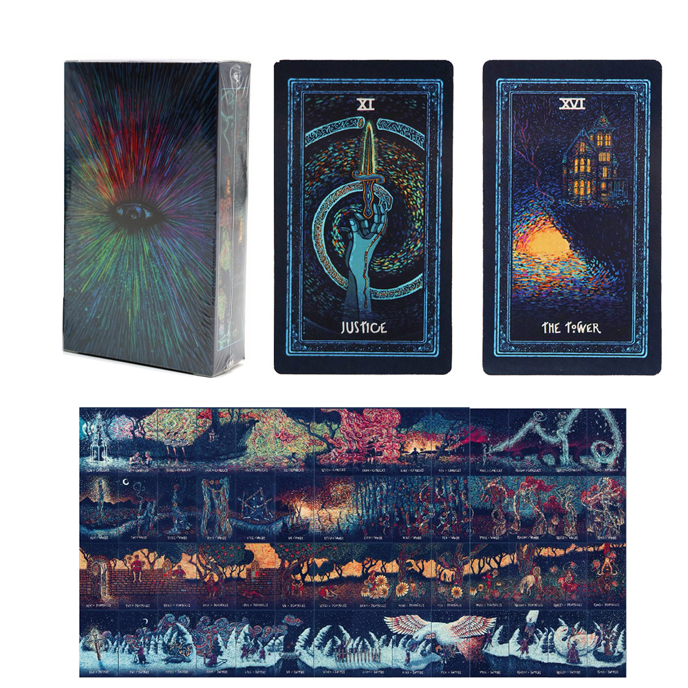 Tarot Cards For Divination 4 Season 79 Cards Full English Mysterious Prisma Art Tarot Deck Board Game For Women