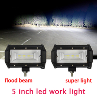 1pair Offroad 5Inch LED Work Light Bar 72W Spot Flood 12V 24V Led Light Bar For