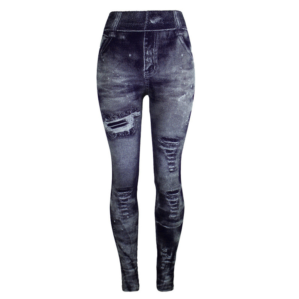 Unique Style Fashion Beautiful And Elegant Women Jeans Bottom Pants Coloured Super Bomb Slim Nine-minute Navy Pant W30416