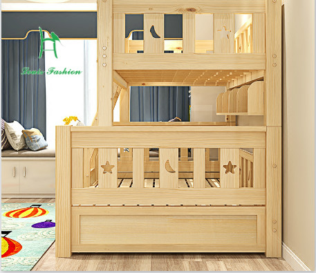 Louis Fashion Children Bunk Bed Real Pine Wood With Ladder Stair Drawers  Safe And Strong