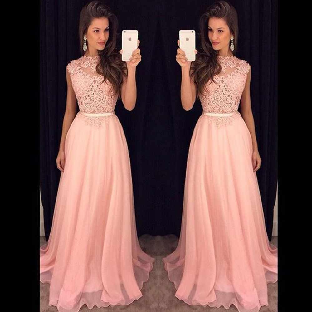 f6f93ab7b9f1492 Длинные платья подружек невесты без рукавов шифоновое кружевное Розовый и  красный цвет королевский синий Свадебная вечеринка