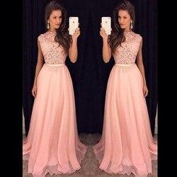 Lange Bruidsmeisje Jurken Mouwloze Chiffon Kant Roze Rood Koningsblauw Wedding Party Dress Formele Gowns Vestidos 2018 hot plus size