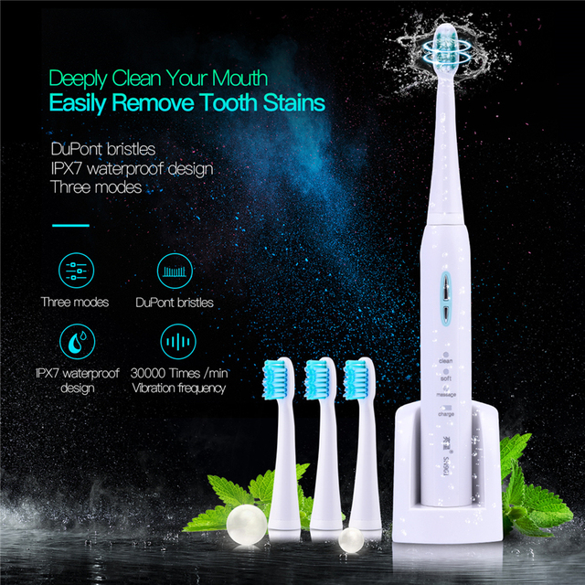 lansung sn901 electric toothbrush 4 brush heads sonic teethbrush 3