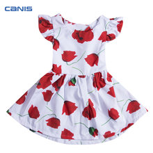 2017 Hot Fashion Flower Girls Princess Dress Kid Baby Party Pageant Floral  Red Rose Tutu Dresses Summer Kids Clothing 55e0d74e5c41