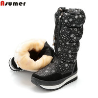 ASUMER Keep Warm Snow Boots Women Plush Warm Lady Shoes Mid Calf Boots Cow Suede Leather