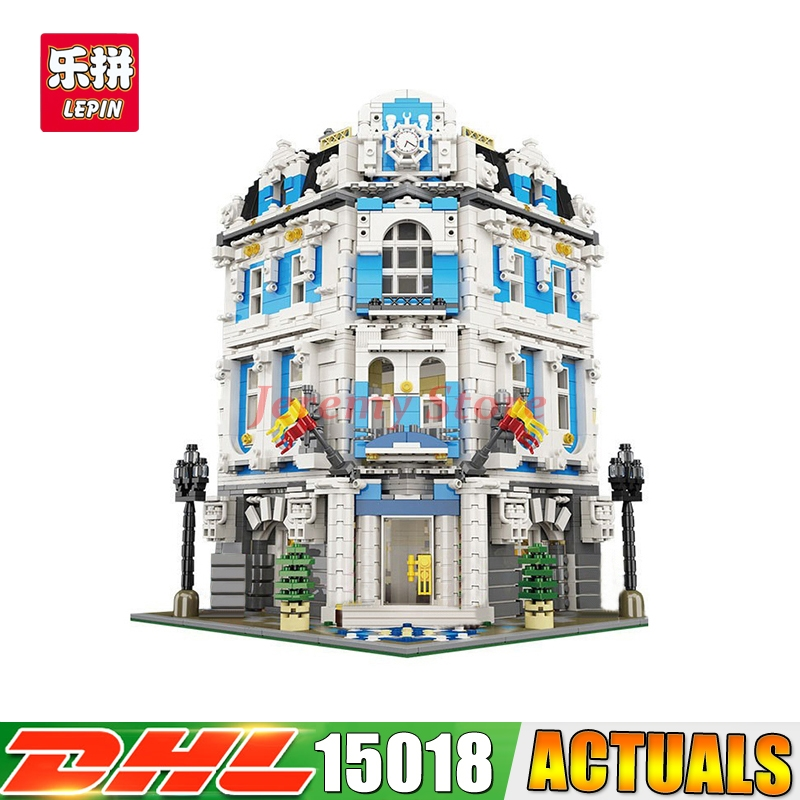 2018 DHL LEPIN 15018 MOC City Street Series The Sunshine Hotel Set Building Blocks Bricks Set Toys lepin 15018 3196pcs creator city series sunshine hotel model building kits brick toy compatible christmas gifts