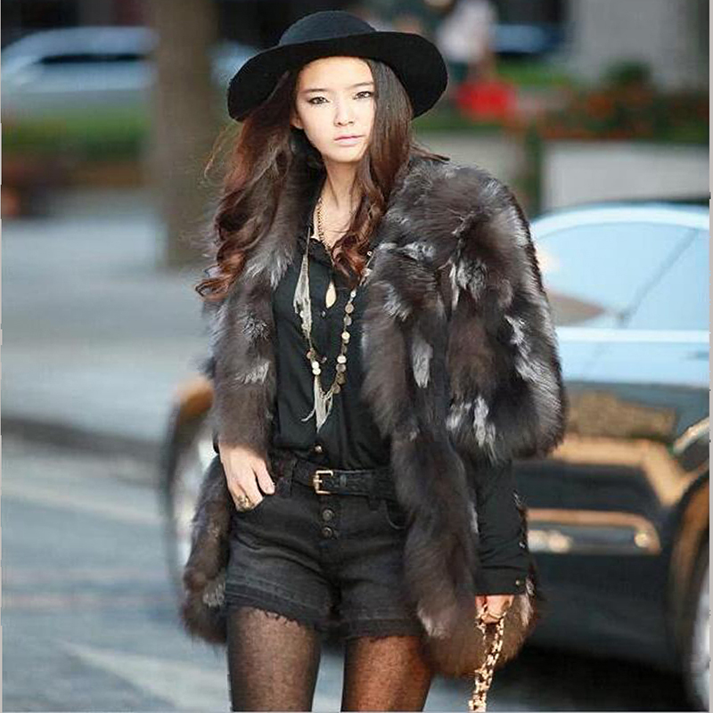 High quality 100% pure natural silver fox fox fur long coat autumn and winter hot women's seven-point sleeve fox fur coat