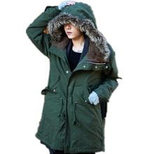 Плюс Размер M-3XL Новый Мужчины долгая Зима Снег Теплый Искусственного Меха Воротник Хлопок Пальто Куртки Парки Для Мужчин Зима, 2 Цветов, PFZ81