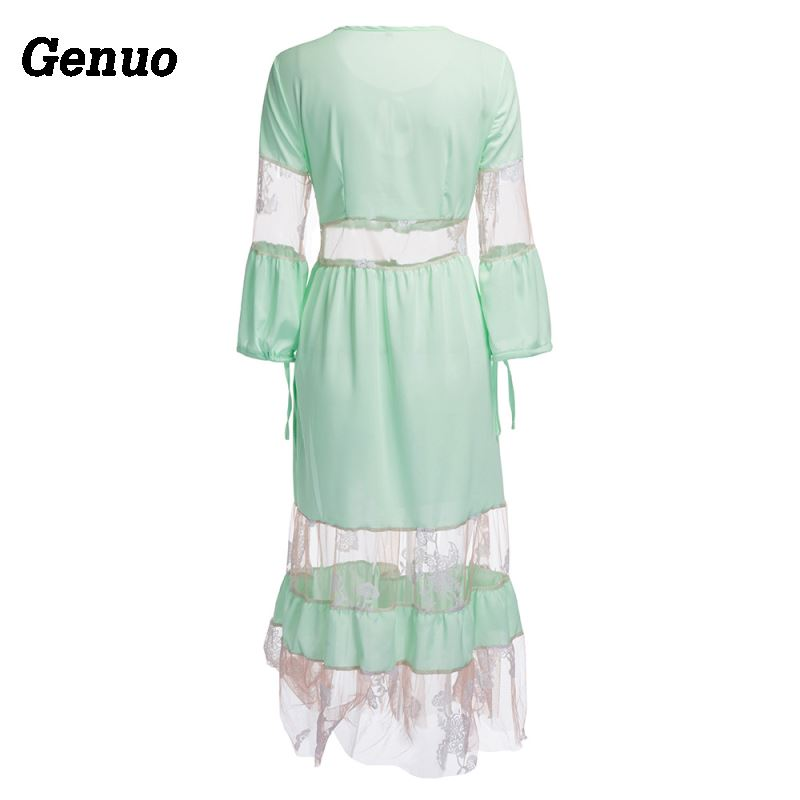 Genuo Fashion Casual Women 39 s Ladies Floral Embroidery Long Sleeve Dress Party Cocktail Loose Cute Spring Midi Dress Green White in Dresses from Women 39 s Clothing