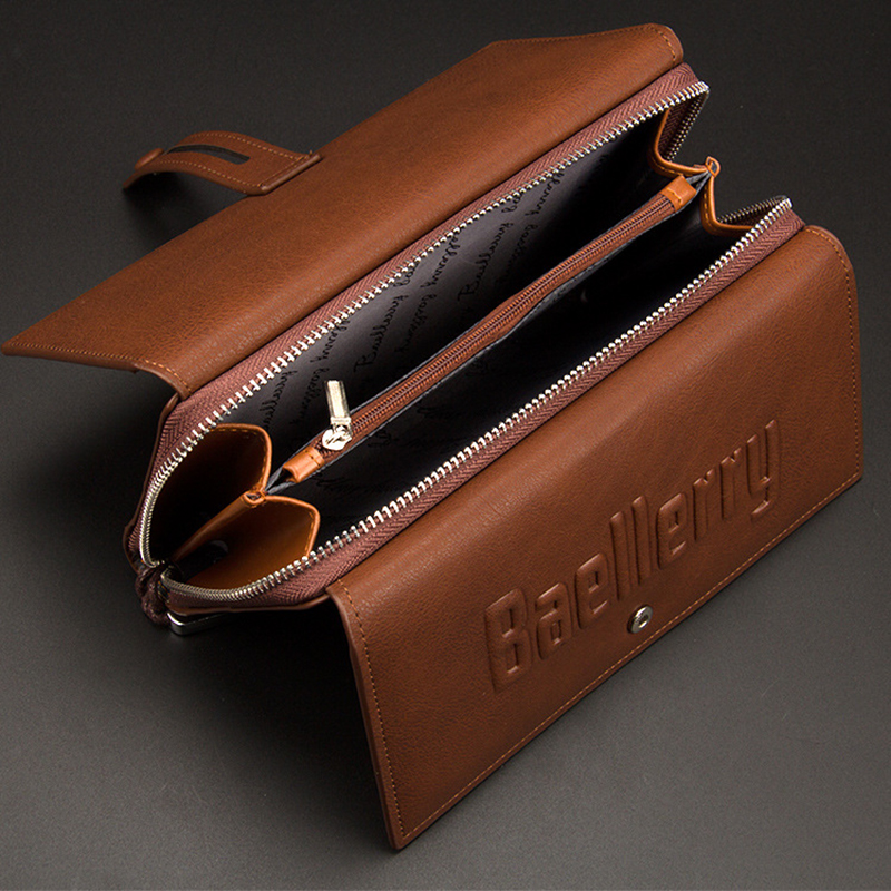 все цены на Baellerry Men Clutch TOP Wallet Men Coin Pocket Purse Male Zipper Clutch Bags Leather Mens Wallets Brand Long Large Money Wallet