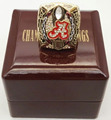 Wholesale 2015 Alabama Crimson Tide National Zinc Alloy gold plated Custom Sports Replica Championship Ring With Wooden Boxes