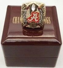 Comercio al por mayor 2015 Alabama Crimson Tide Anillo de Aleación De Zinc chapado en oro de Encargo Deportes Replica Campeonato Nacional Con Cajas De Madera