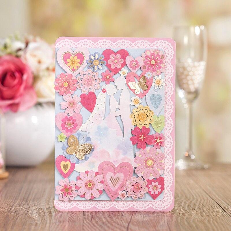 Laser Cut Floral Design Pink Color Bride Groom Wedding Invitation