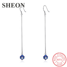 цены New arrival 925 Sterling Silver Earrings Long square Austria crystal drop earrings Fashion Jewelry for women dropshipping 2019
