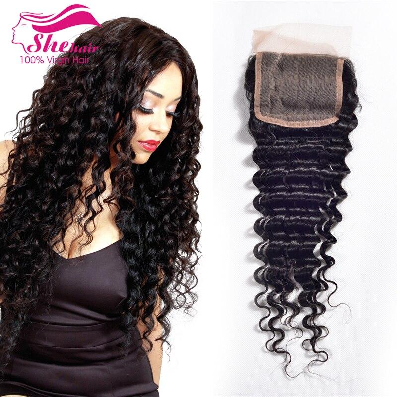 Indian Virgin Hair Deep Wave Closure 7A Indian Lace Closure Top Indian Deep Curly Closure 100