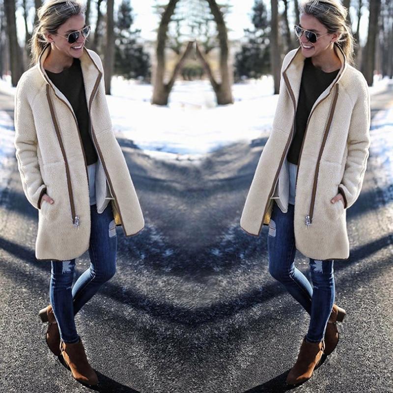 Coats and Jackets Women 2018 Autumn Winter Fashion Zipper Button Long Sleeve Top Coat Trundown Collar Women Jackets Overcoats in Jackets from Women 39 s Clothing