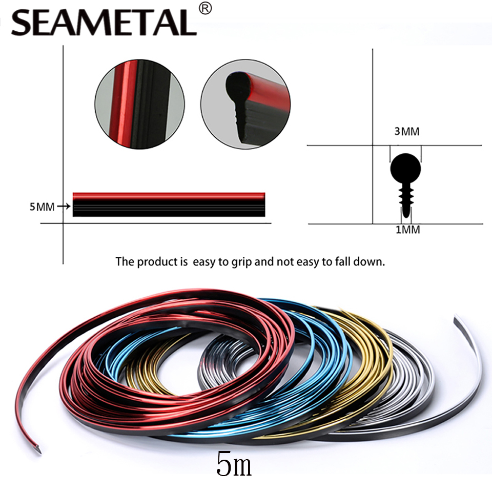 5M Car Interior Mouldings Strips Decorative Thread Trim Brand Sticker 5m Car Styling Accessories Decorative Strip