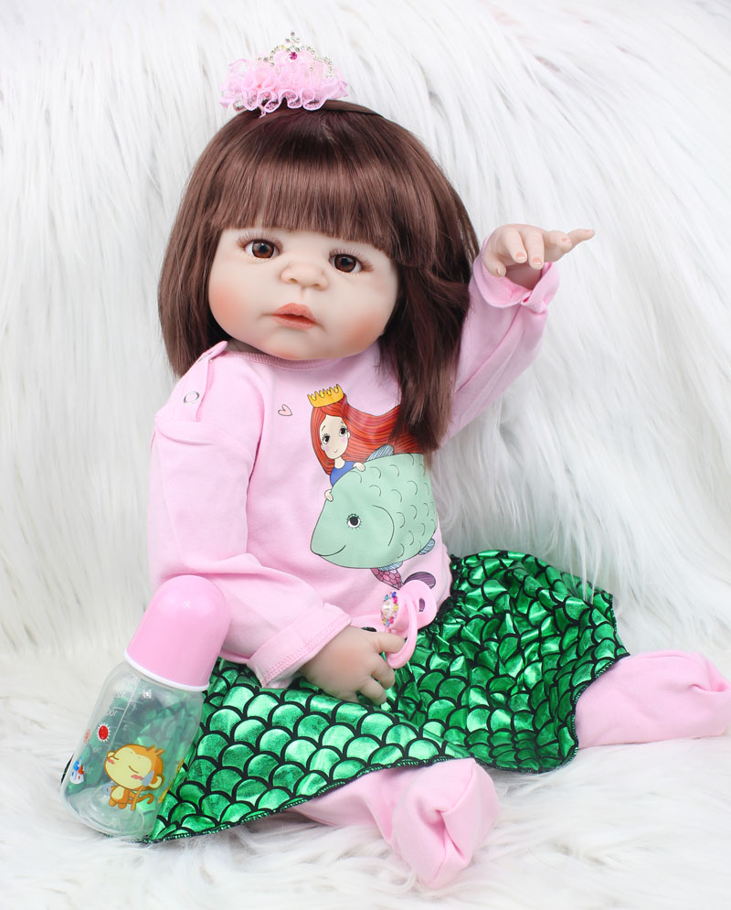 55cm Full Body Silicone Reborn Baby Doll Toys Lifelike 22inch Newborn Princess Toddler Girls Babies Dolls Xmas Gift Bathe Toy 55cm silicone reborn baby doll toys vinyl newborn princess toddler babies dolls toy lifelike birthday xmas gift girls bonecas