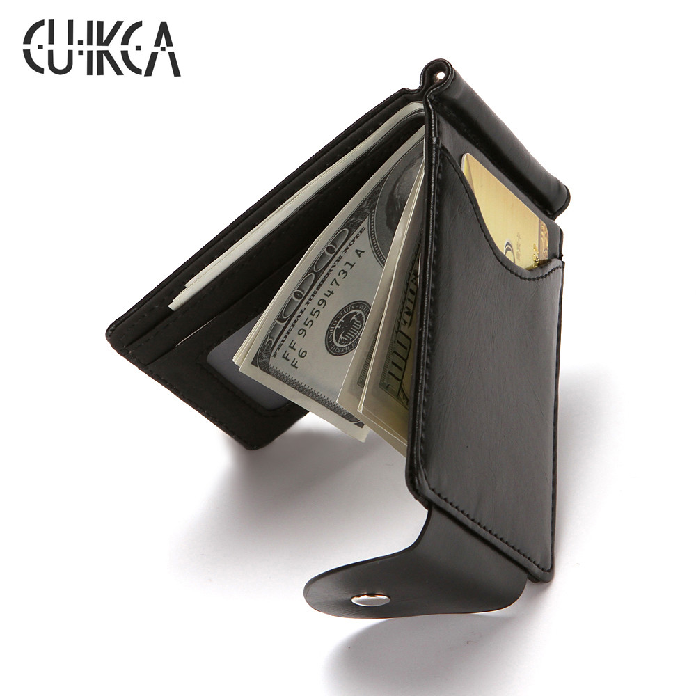 New Men Leather Mini Money Clip Slim Wallets Black ID Credit Card Purse Holder