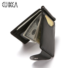 CUIKCA South Korea Style Money Clip Men Wallet Purse Ultrathin Slim Wallet Mini Hasp Leather Wallet Business ID Credit Card Case купить недорого в Москве