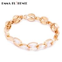 Trendy Women Link Bracelets Nine Marquise CZ Bezel Quality 18K Gold Plated Jewelry Chain Bracelets