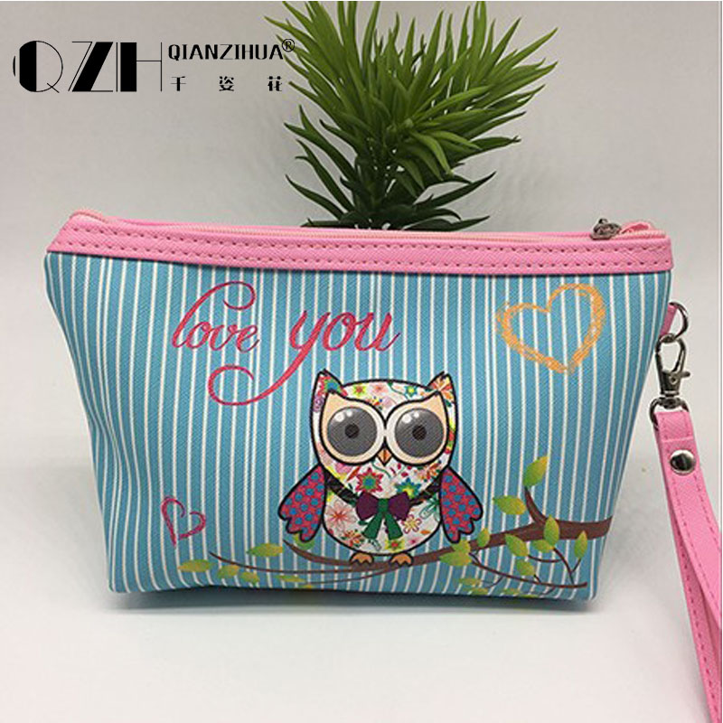 2018 Owl Handmade pu Cosmetic Bag Toiletry Animal Cartoon Travel Zipper Leather Makeup Waterproof Wash Organizer Free Shipping