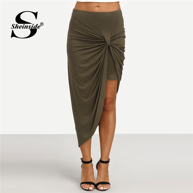 Sheinside Army Green Asymmetrical Twist Ruched Skirt Office laides Workwear Sheath Sexy Skirt Women Summer Plain Elegant Skirt