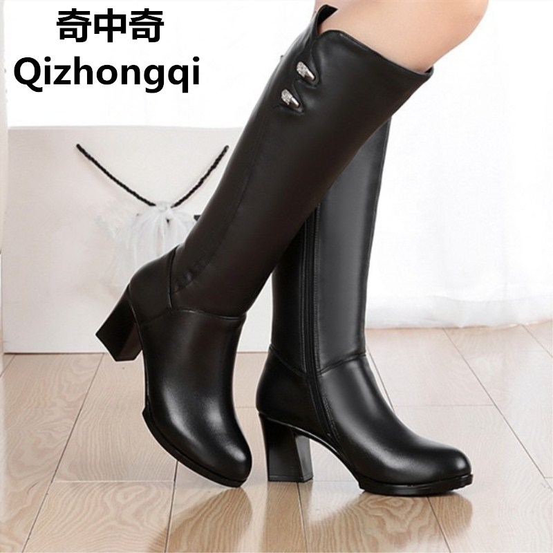 Woman boots winter 2017 women s genuine leather boots high quality long barreled warm motorcycle boots