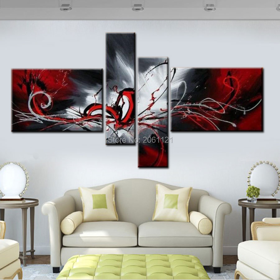 Modern Abstract cnavas oil painting hand painted Black ...