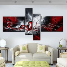 Modern Abstract cnavas oil painting hand painted Black White and Red Wall Art Home Decorative Picture 4 Panels Canvas