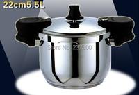 Бесплатная доставка 5.5 литр скороварки 22 см Давления Кастрюли Высокое качество кухонной утвари горшок с рагу работы на индукционной плита