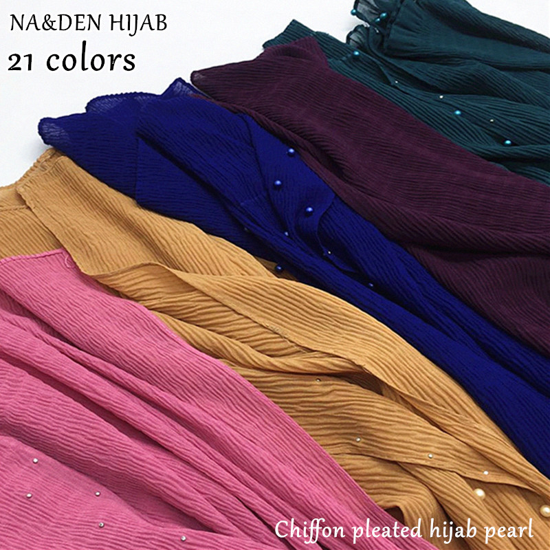 2019 Chiffon wrinkle scarf pearl shawl plain maxi ripple hijab long pashmina muffler muslim scarf fashion