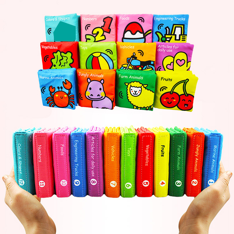 6PCS Baby Toys 0-12 Month Soft Cloth Books Baby Intelligence Development Infant Educational Cognitive Book Early Learning Toys