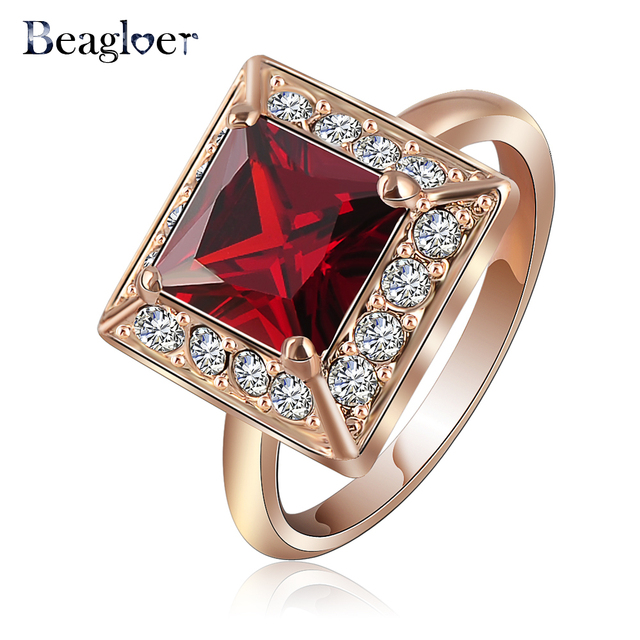 European Style Square Ring Design Vintage Rose Gold Color Red Zircon