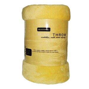 Image 1 - Очень мягкое одеяло из кораллового флиса, однотонное, желтое, Двухслойное, двухъярусное, размер, плед, покрывало, Cobertor