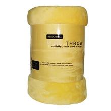 Manta de lana de Coral Super suave de Color amarillo sólido cama doble Queen Size Plaid Furniture Cover colcha Cobertor
