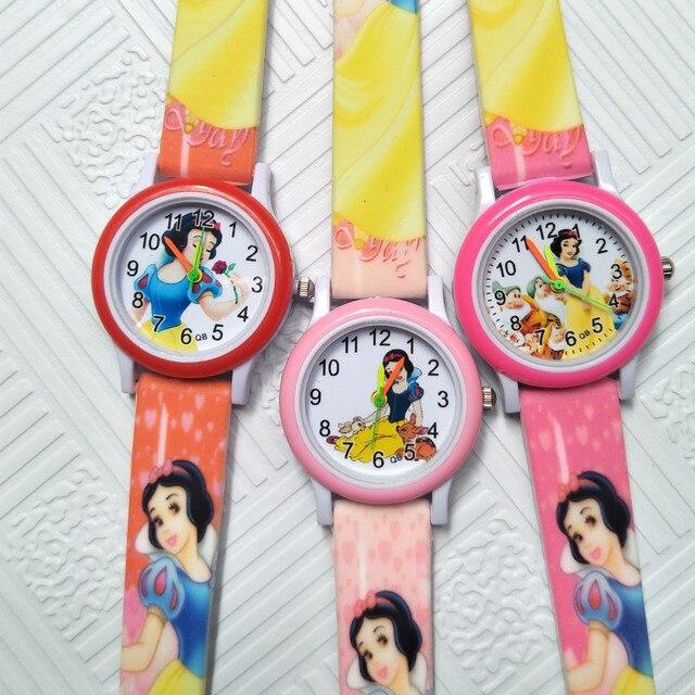 Fashion Beautiful Snow White Creative Kids Watches Student Girl Clock Children W