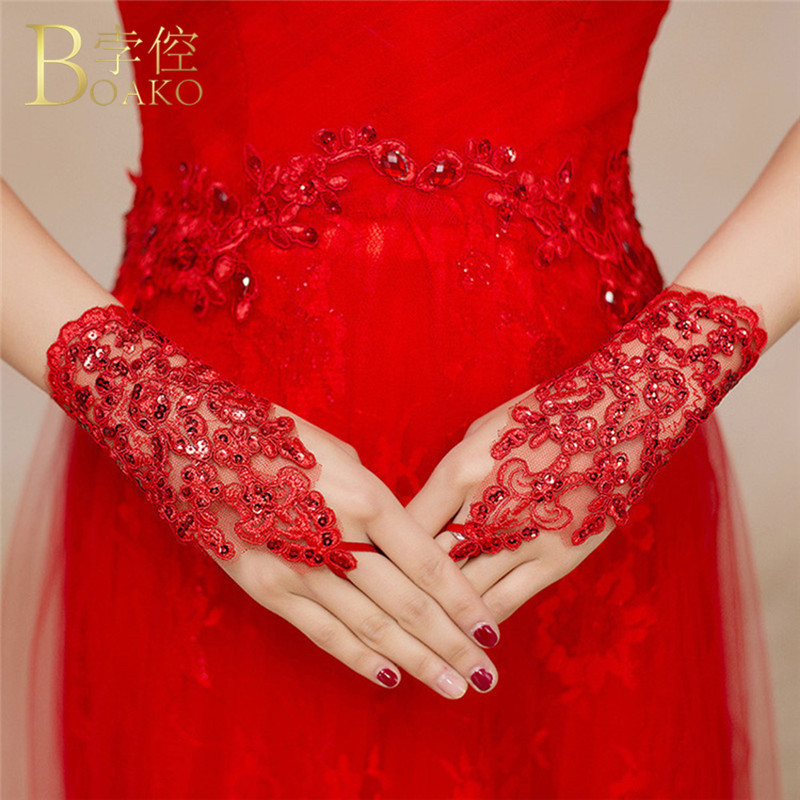 Sexy Wrist Length Women Lace Bride Gloves Red Black Lace Party Hand Gloves Mittens Sun Protection Accessories Driving Gloves R5F