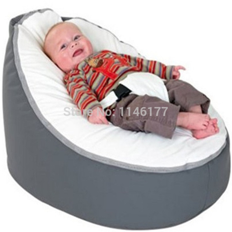 Ywxuege White Gray Baby Chair Portable Kid Seat Sofa Beanbag Bean Bag Without