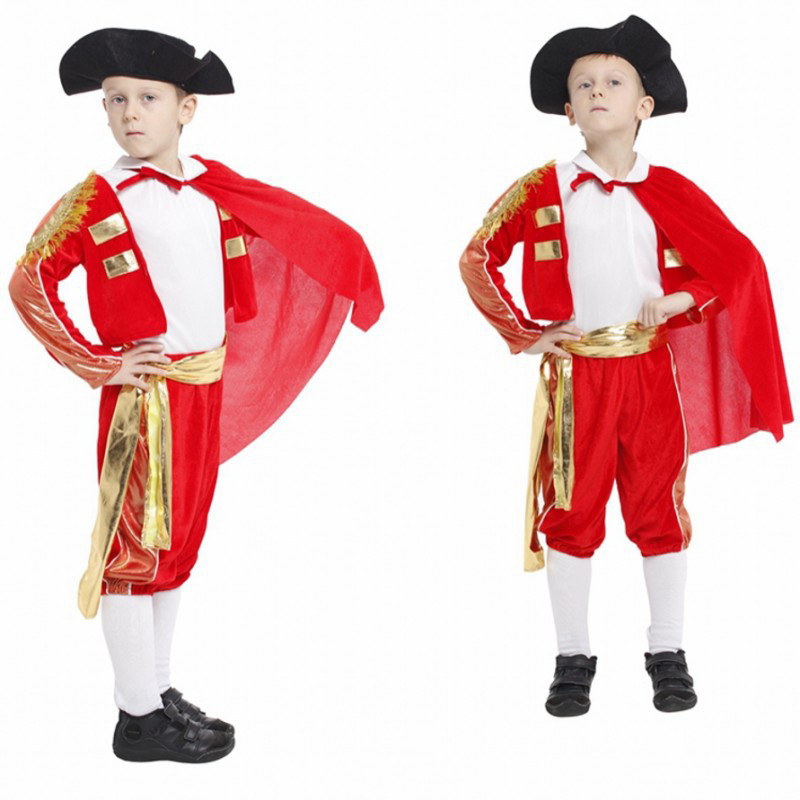 New Handsome soldier Children's Halloween Cosplay Costumes Boys red Spanish Matador Costumes kids Festival Performance clothes