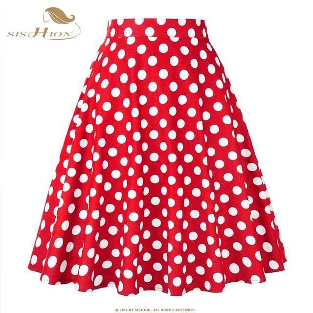8ba3ae6cdce9b placeholder SISHION Women Skirt Blue Red Black White Polka Dot High Waist  Vintage Skater faldas mujer Plus