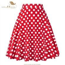 ad7ffa272 SISHION falda de las mujeres, azul, rojo, blanco y negro Polka Dot cintura