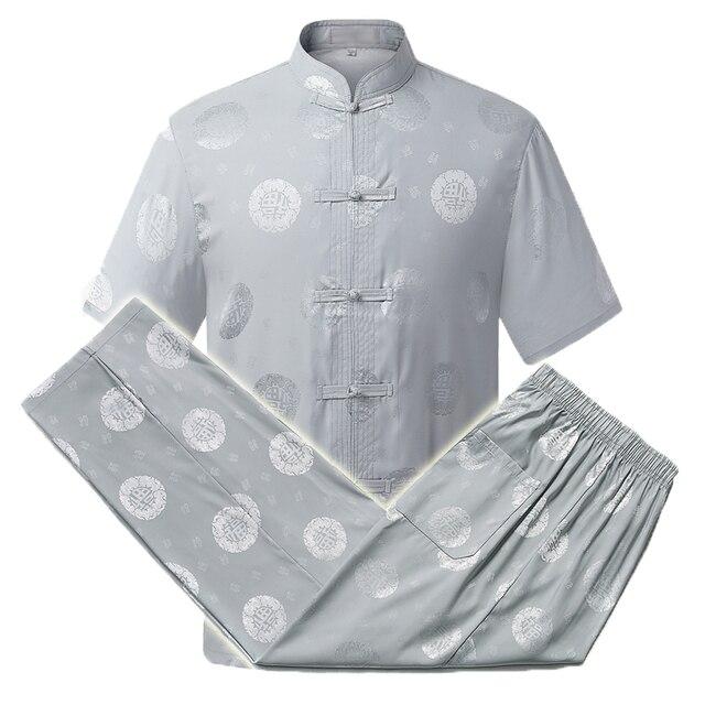 WAEOLSA Men Oriental 2PCS Pant Set Mulberry Silk Top And Pant Suit Male Summer Tangzhuang Tweinset Red Beige Blue Suits Ensemble