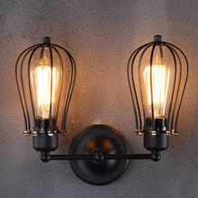 LumiParty Industrial Double Head Wall Sconce Lights American rustic wrought iron antique restaurant corridor Decor LED wall lamp