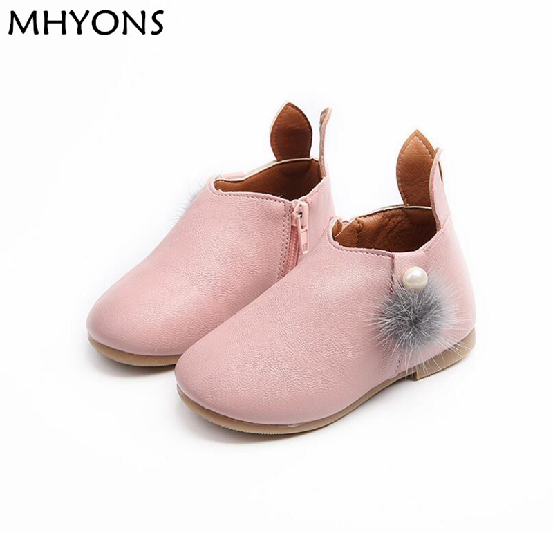 MHYONS Childrens Shoes Winter Boots Girls Leather Zip Flat With Butterfly-knot Boots Kids Autumn Ankle Girls Shoes Girls Boots ...